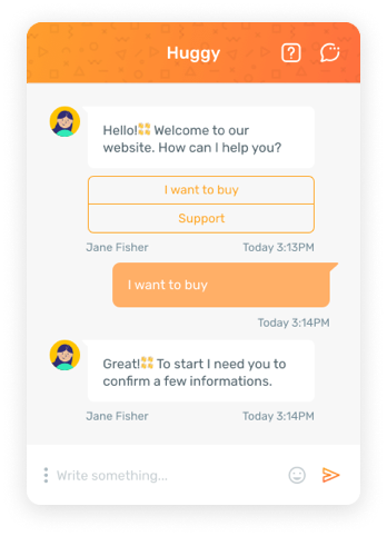 Multiple choice chat for question interaction via chat to capture lead